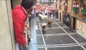 Mayhem at Deadmans' Corner during San Fermin